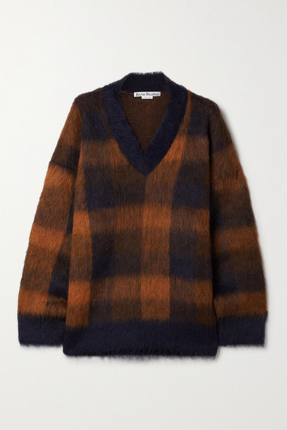 Acne Studios - Oversized Checked Knitted Sweater - Navy