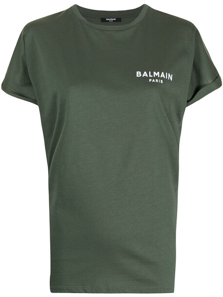Balmain small flocked-logo T-shirt - Green