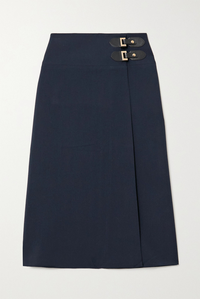 ÀCHEVAL PAMPA ÀCHEVAL PAMPA - Volada Leather-trimmed Woven Wrap Skirt - Blue