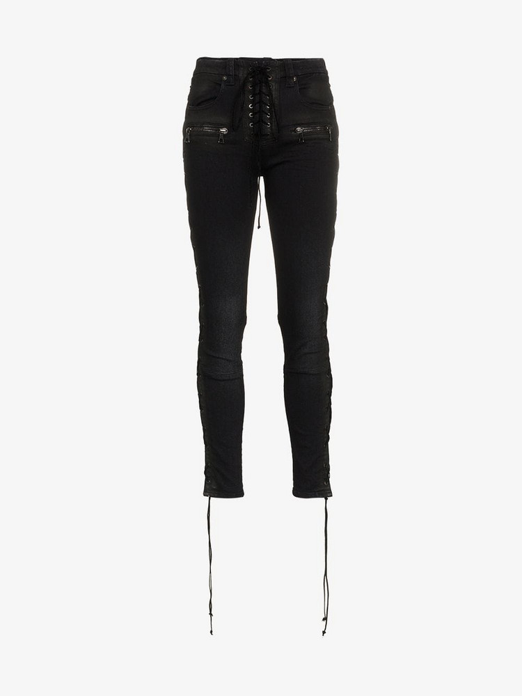 Unravel Project lace up skinny jeans in black