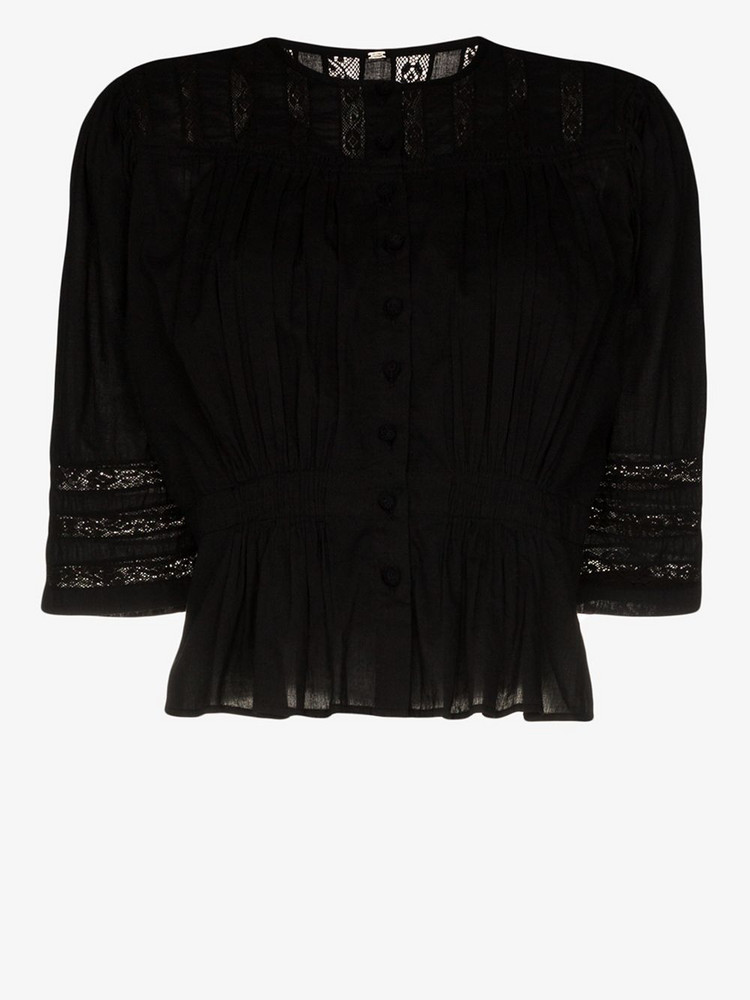 MIMI PROBER Barton lace panelled blouse in black