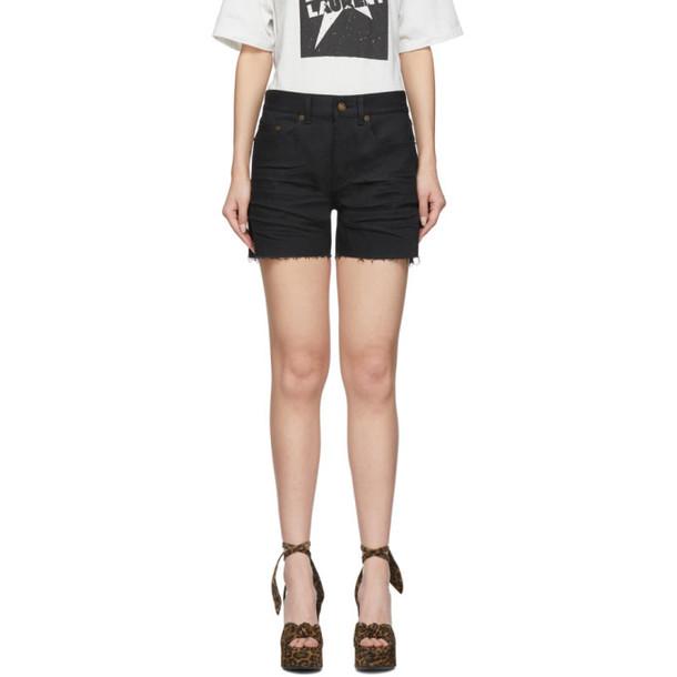 Saint Laurent Black Denim Frayed Shorts