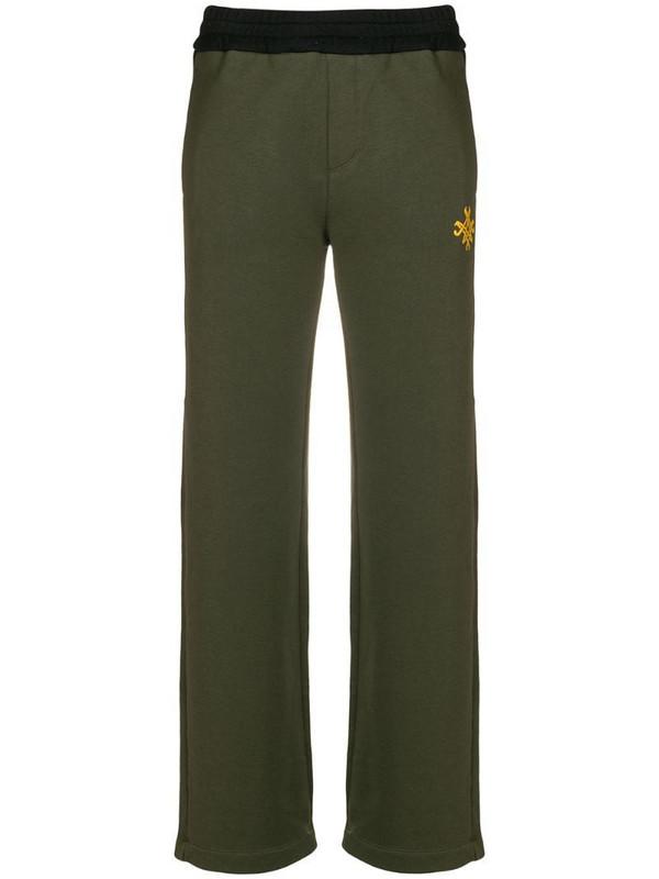 Mr & Mrs Italy side stripe track pants in green