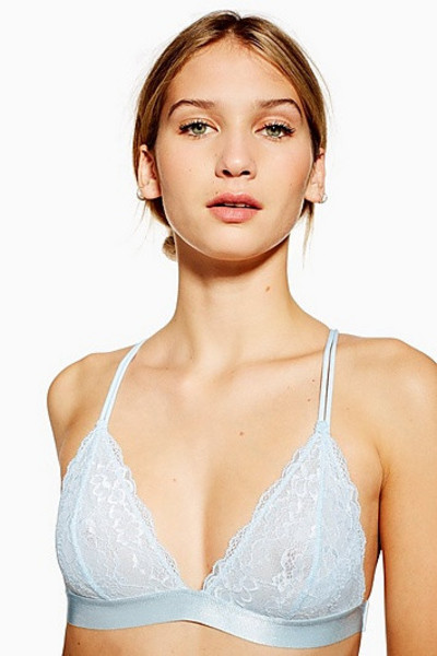 Topshop Lace Pull On Triangle Bra - Pale Blue