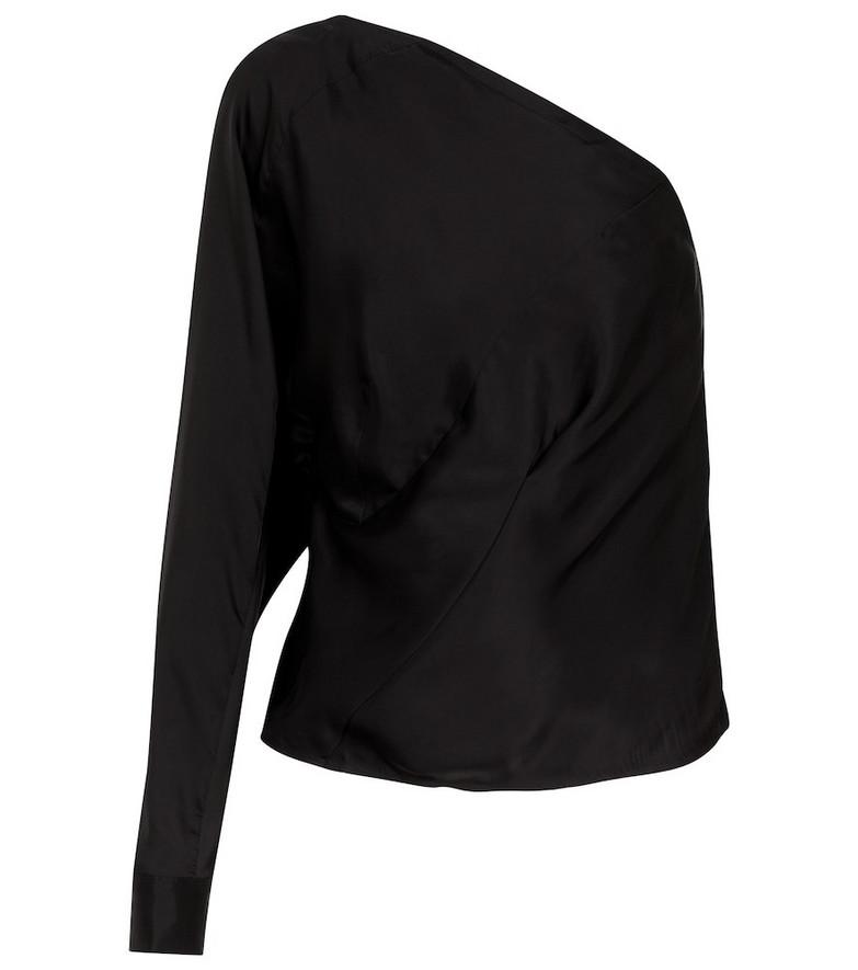 RtA Josalyn one-shoulder satin blouse in black