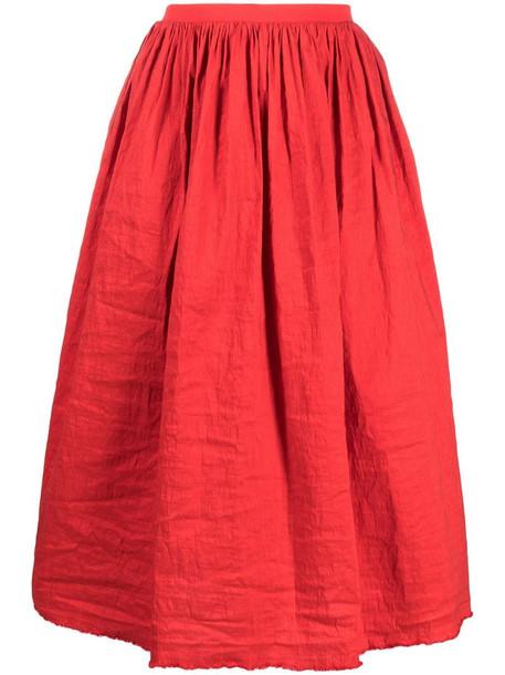 Uma Wang gathered detail full shape skirt in red