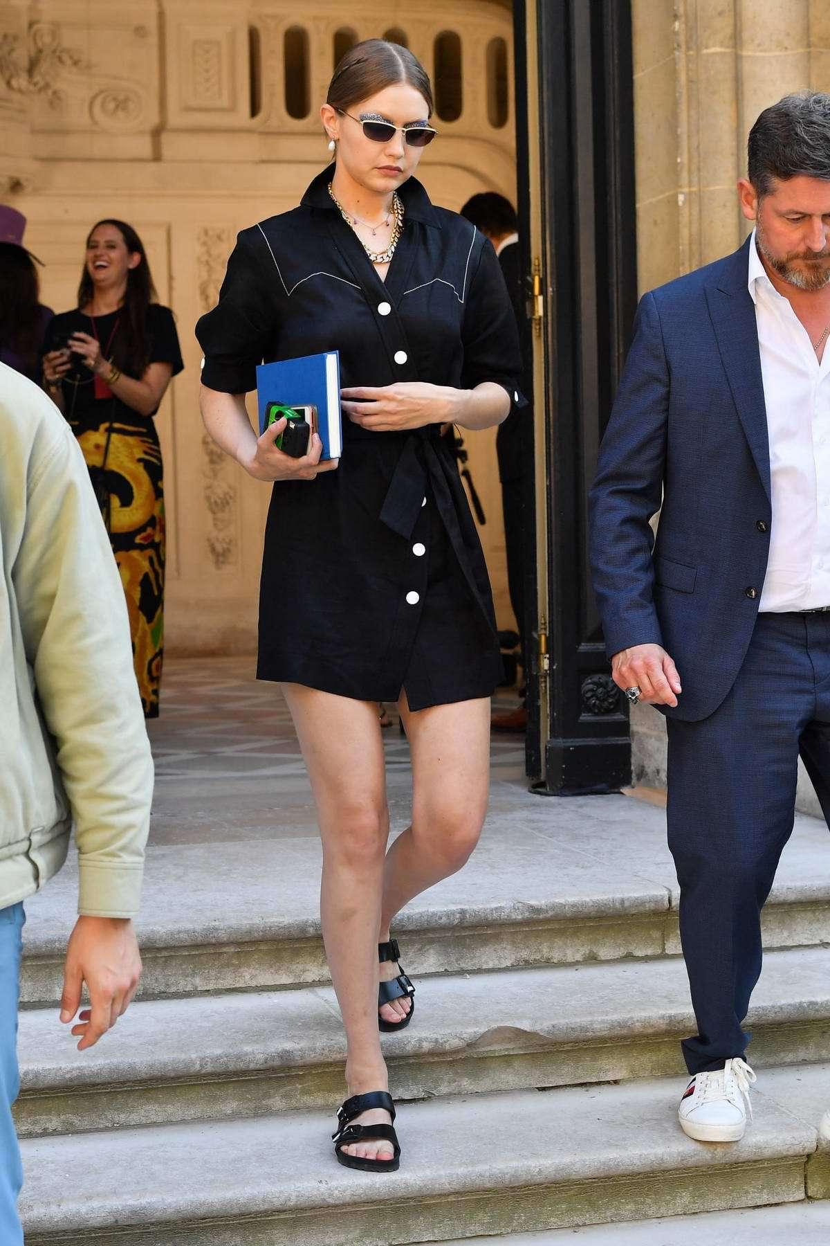 dress shirt shirt dress celebrity model off-duty gigi hadid black dress