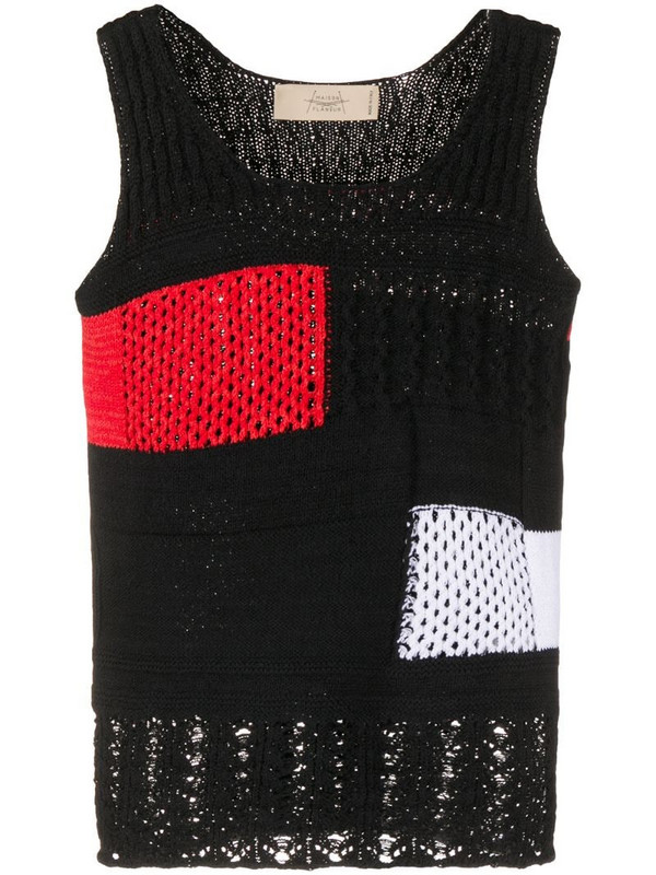 Maison Flaneur colour block knitted top in black