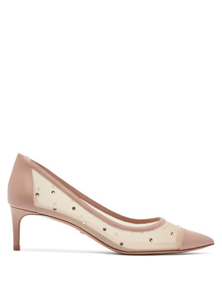 Valentino - Shining Crystal Embellished Mesh Pumps - Womens - Nude
