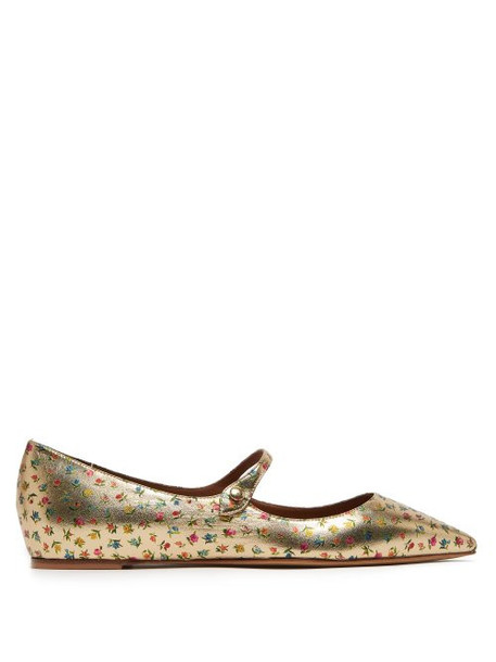 Tabitha Simmons - Hermione Floral Print Leather Mary Jane Flats - Womens - Gold Multi