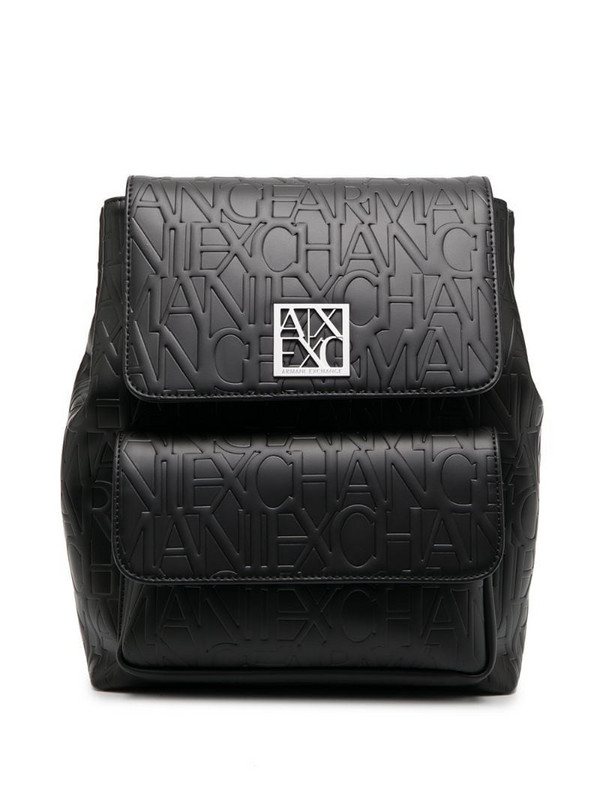 Armani Exchange embossed logo faux-leather backpack in black