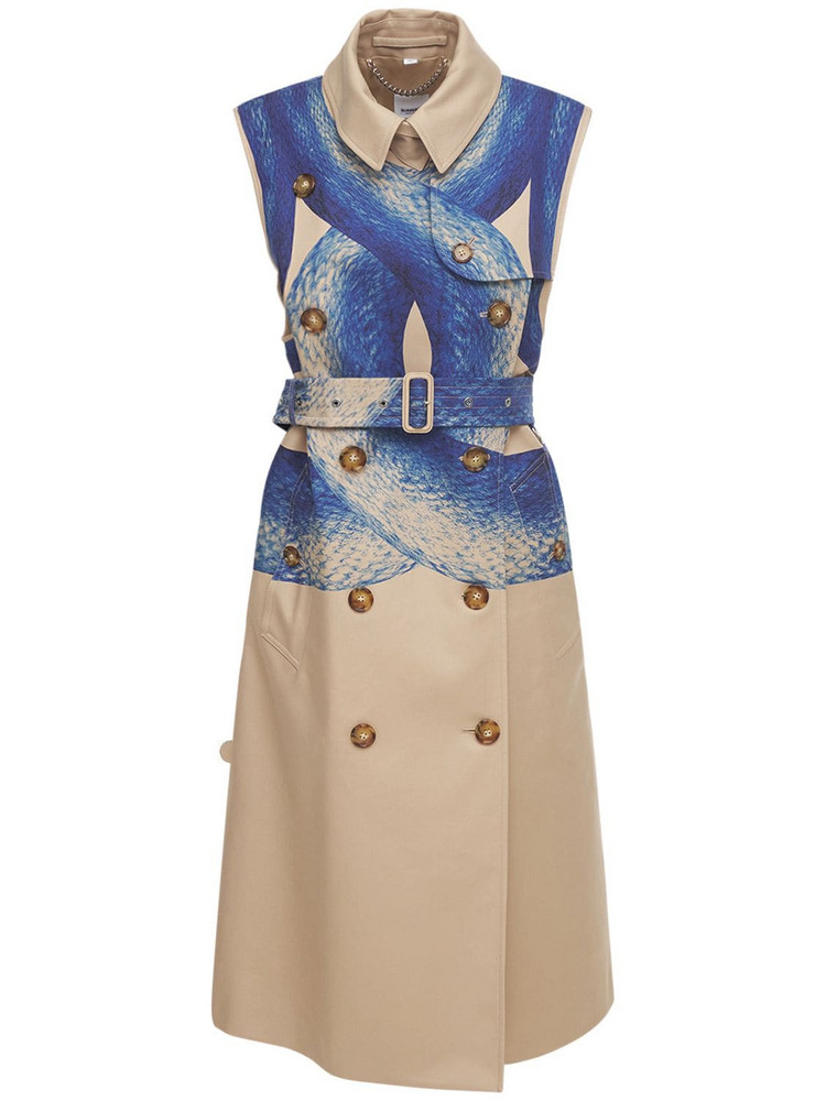 BURBERRY Printed Sleeveless Trench Coat in multi / beige