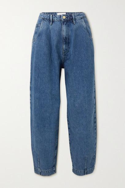 FRAME - Barrel High-rise Tapered Jeans - Mid denim