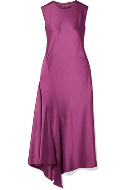 Sies Marjan - Vanessa Paneled Textured-satin Midi Dress - Violet