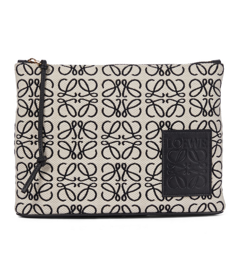 LOEWE Anagram jacquard canvas pouch in white