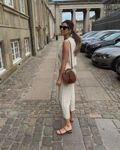 pants,cropped pants,slide shoes,brown bag,sleeveless top
