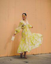 dress,maxi dress,long sleeve dress,sandal heels,white bag