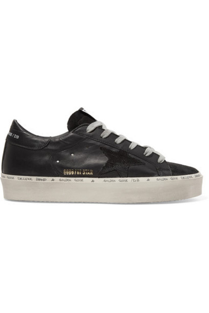 Golden Goose - Hi Star Suede-trimmed Distressed Leather Sneakers - Black
