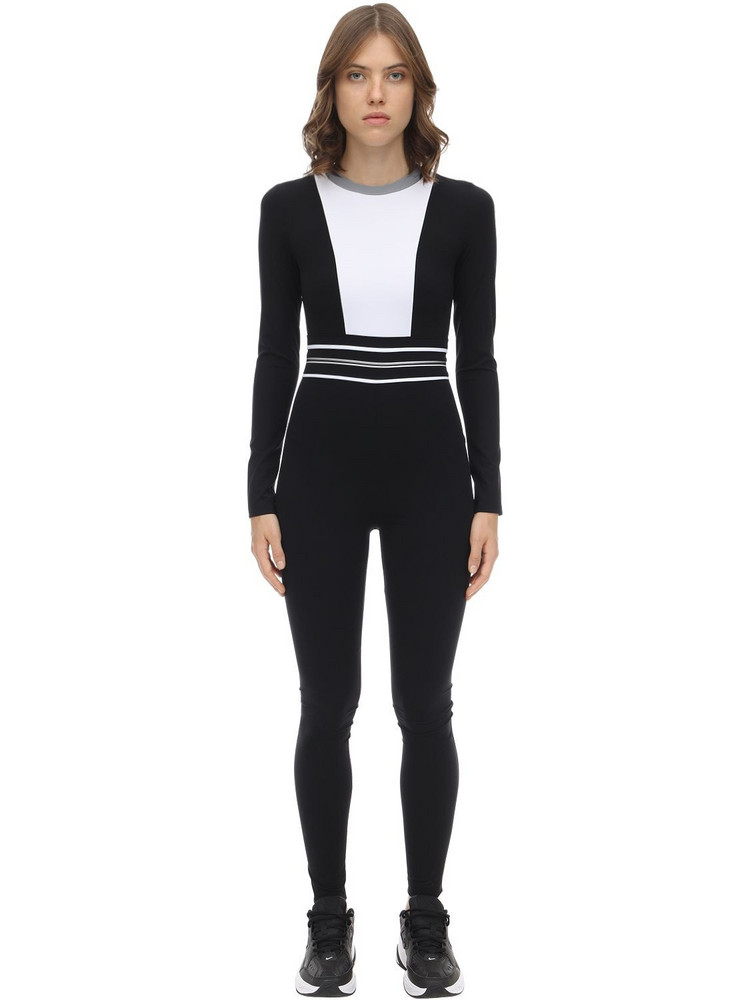 NO KA'OI Intrigue Stretch Nylon Jumpsuit in black / white