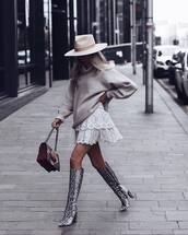 shoes,knee high boots,snake print,heel boots,white skirt,layered,mini skirt,grey sweater,turtleneck sweater,oversized sweater,hat
