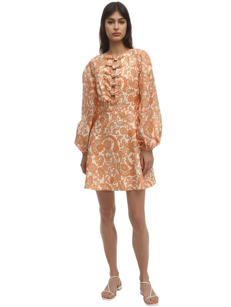 ZIMMERMANN Printed Linen Mini Dress W/bows in orange