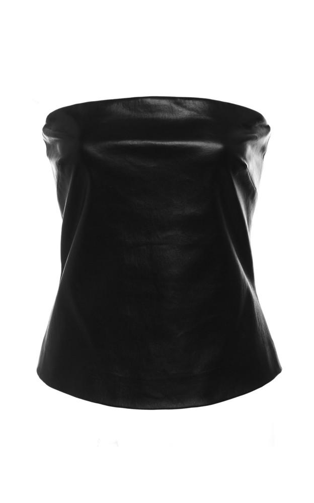 Rosetta Getty Bandeau Leather Top in black