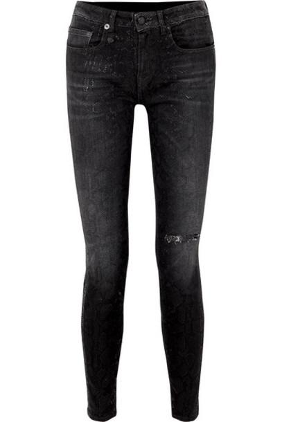 R13 - Alison Distressed Snake-print Low-rise Skinny Jeans - Black