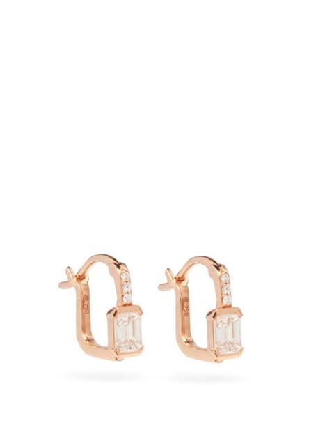 Raphaele Canot - Diamond & 18kt Rose-gold Hoop Earrings - Womens - Rose Gold