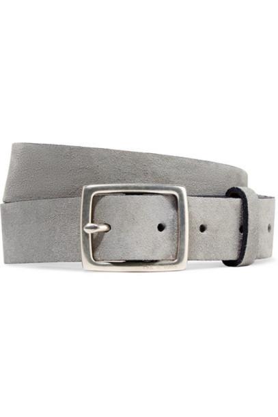 rag & bone - Boyfriend Brushed-suede Belt - Gray