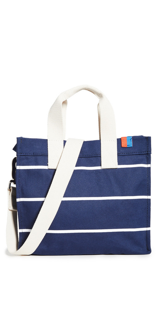 KULE The Horizontal Stripe Bucket Bag in navy / white