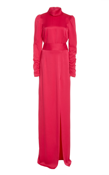 Monique Lhuillier Open-Back Satin Dress in pink