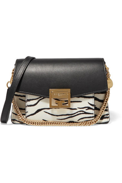 Givenchy - Gv3 Small Zebra-print Calf-hair And Leather Shoulder Bag - Zebra print