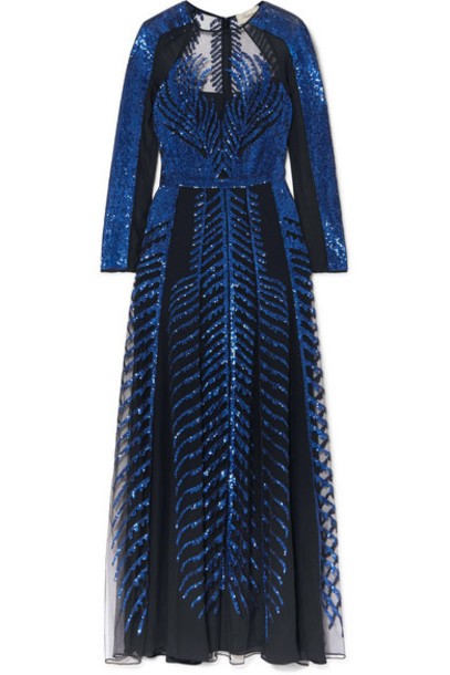 Temperley London - Dusk Sequined Tulle And Chiffon Maxi Gown - Navy
