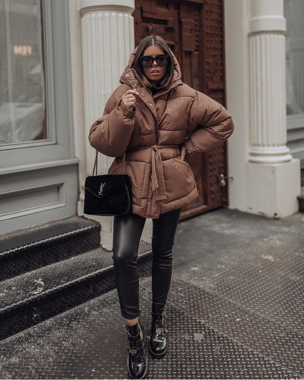 jacket puffer jacket ankle boots black boots black leggings ysl bag black bag