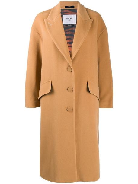 Paltò loose single-breasted coat in brown