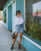 skirt,denim skirt,high waisted skirt,ankle boots,black boots,patent boots,black bag,white blouse,lace,hat