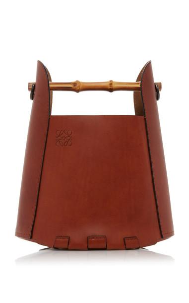 Loewe Bamboo Leather Bucket Top Handle Bag in brown