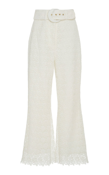 Zimmermann Belted Cropped Cotton Lace Wide-Leg Pants in white