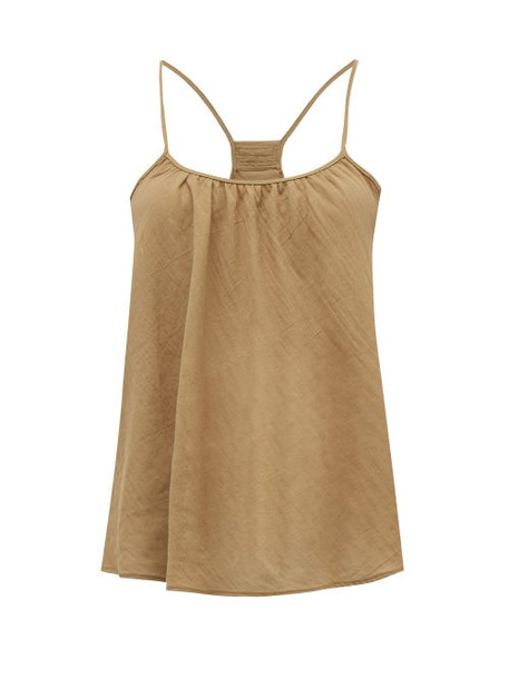 Loup Charmant - Scoop-neck Organic-cotton Cami Top - Womens - Brown