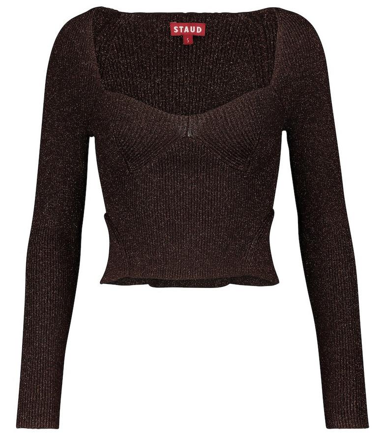 Staud Cerro metallic sweater in brown