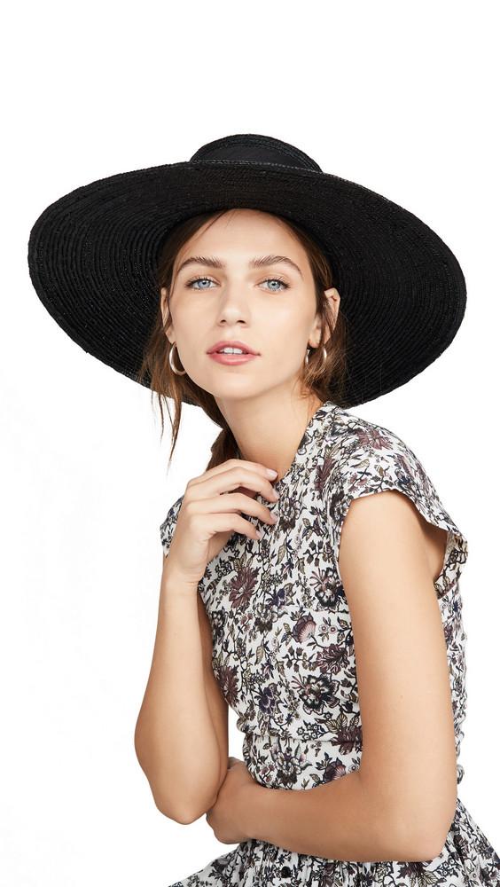 Janessa Leone Desi Boater Hat in black