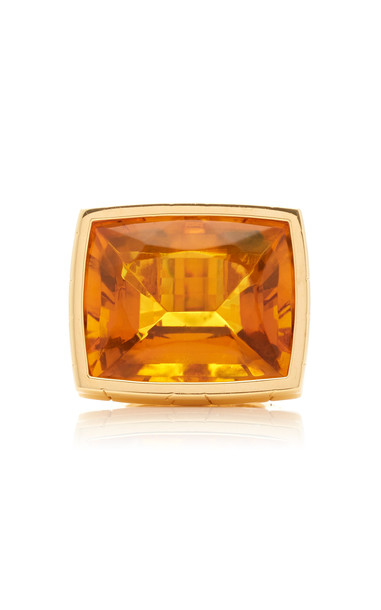 Tony Duquette One of a Kind 18K Yellow Gold and Amber Ring Size: 6.5