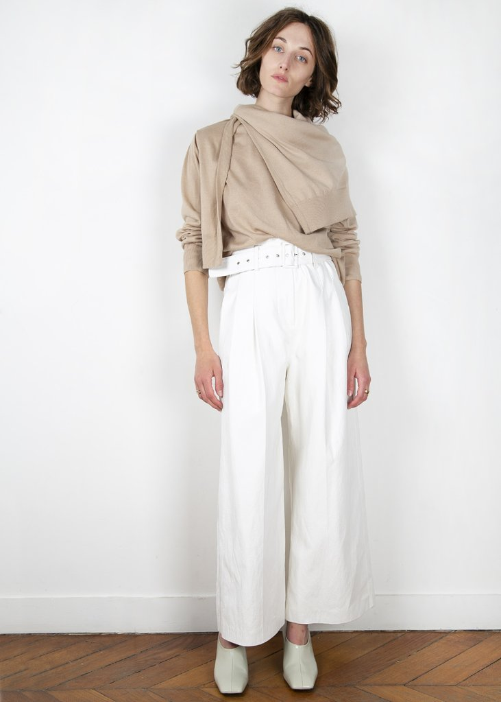 Wide Leg Faux Leather Pants in White