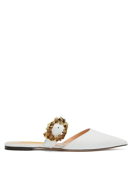 Rupert Sanderson - Crystal Embellished Buckled Leather Mules - Womens - White