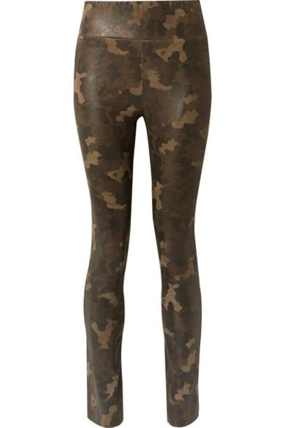SPRWMN - Camouflage-print Suede Leggings - Army green