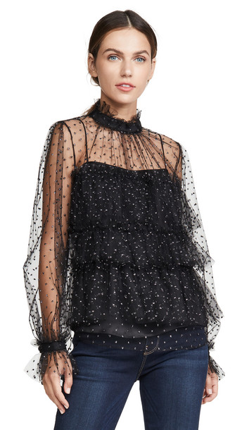Adam Lippes Tiered Ruffle Blouse in black