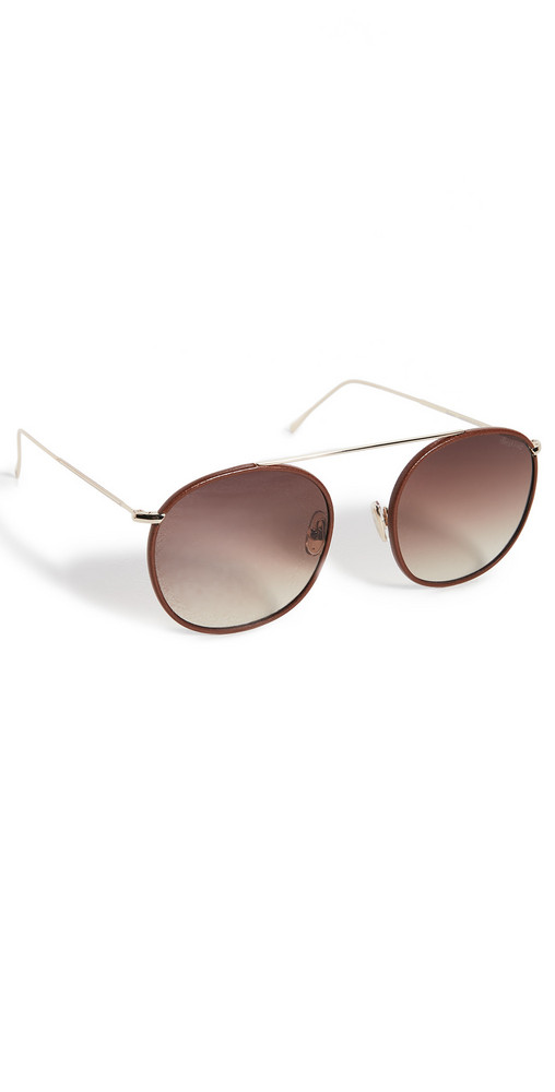 Illesteva Mykonos III Leather Sunglasses in brown / gold / rose