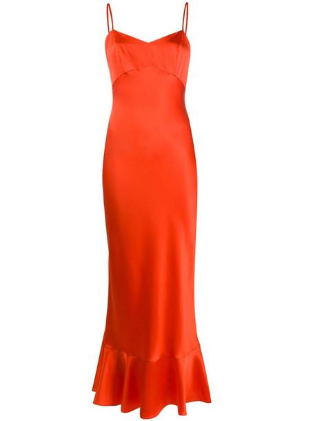 Saloni fitted slip dress in orange