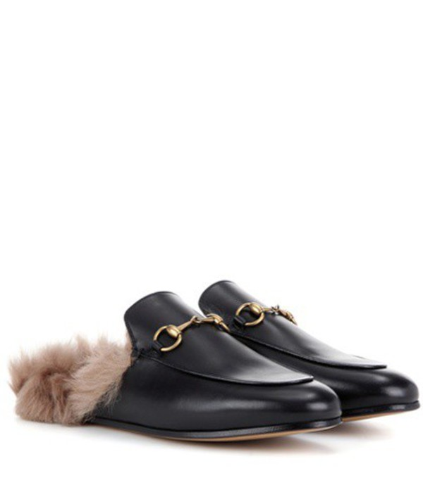 Gucci Princetown fur-lined leather slippers in black