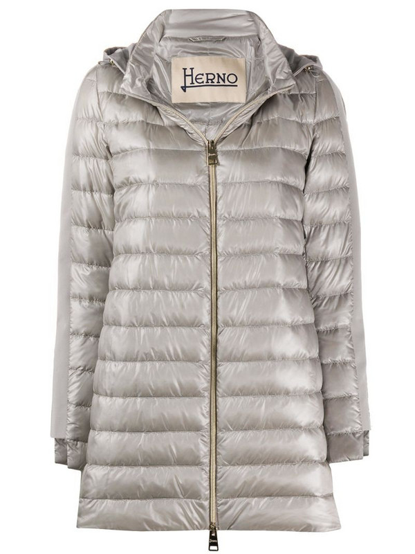 Herno padded contrast hood jacket in grey